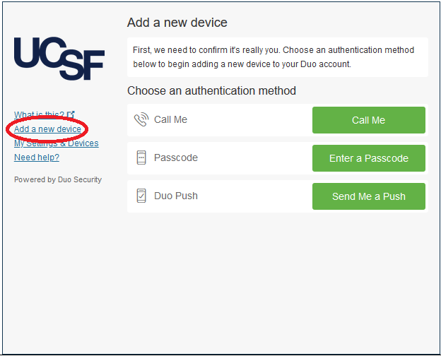 "Screenshot of remote.ucsd.edu ""add a new device"" window with ""add a new device"" left margin menu option circuled in red"