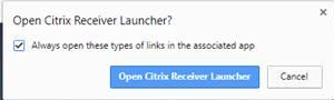 "screenshot of Open Citrix Reciever Launcher dialogue with ""always open these types of links in the assoicated app"" checked"