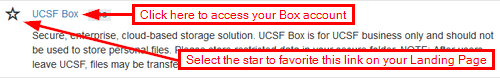 Star and UCSF Box link from MyAccess Landing Page