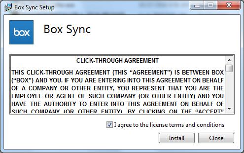 Box Sync setup installer