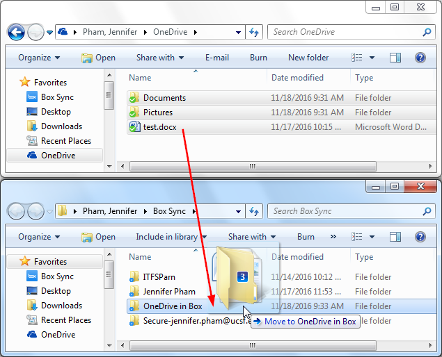 Dragging files from One Drive to One Drive in Box folder located in Box Sync folder