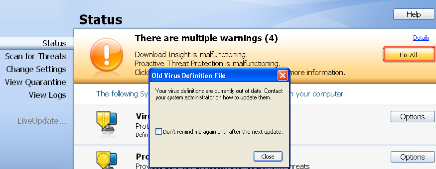 Symantec endpoint protection: manually update virus definition.