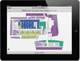 Building floor plan displayed on electronic tablet device