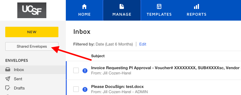 Shared envelopes button in new interface