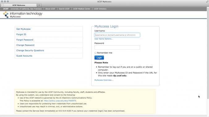 MyAccess Account Activation | it ucsf edu