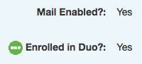 MyID screen showing mail enabled and enrolled in duo