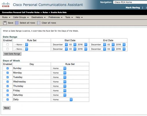 voicemail call transfer rule set enabled page