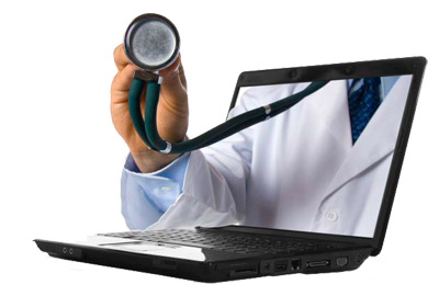 Image of a doctor's stethoscope  emerging from a computer screen